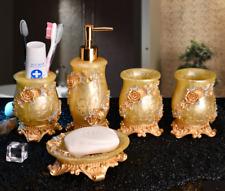 5pcs Gold Embossment Flowers Bathroom Accessories Set Resin Soap Dish Dispenser
