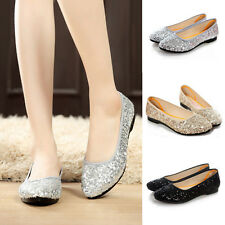 Womens Sweet Glitter Sequins Slip On Ballerina Ballet Flat Causal Shoes Loafers