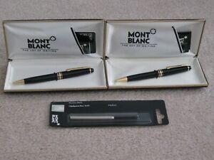 Montblanc Meisterstuck Black/Gold Ballpoint Pen & Mechanical Pencil Set w/ Cases