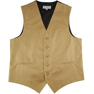 New polyester men's tuxedo vest waistcoat only tone on tone stripes formal Gold