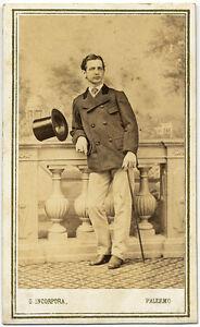CDV Palermo Portrait of a man with top hat 1870c Vintage ph.  G. Incorpora S801