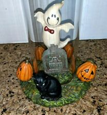 Yankee Candle ghost in glass cylinder Halloween decor black cat RIP pumpkins