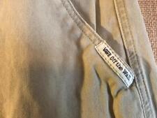 VANS men's beige cargo shorts size 34 x 11 solid flat zip fly cotton back flap s