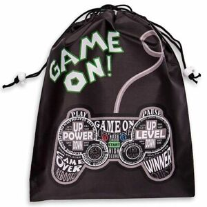 """12x Drawstring Party Favor Bags, Video Gamer Supplies, Game On Design, 9.5x12"""""""