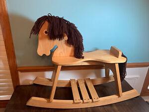 Wooden Rocking Horse Oak Flat Seat Wood Kids Toy!