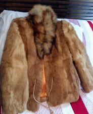 Brown Rabbit Fur Womens Coat Jacket Size Medium