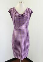 Boden Purple Brown Geometric Printed Cowl Neck Dress Size UK 8R US 4 4R
