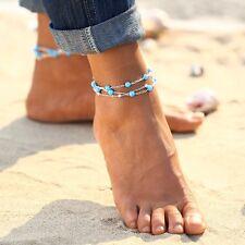 Fußkettchen Fusskette Blogger Farbe: Silber Blau Kette Schmuck Geschenk Perlen