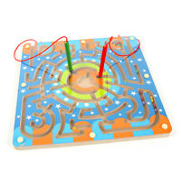 Wooden Children Playing Magnetic Puzzle Maze Game  Annular Labyrinth Kids Toy