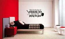 FEAR OF STRIKING OUT BASEBALL  LETTERING DECAL WALL DECOR VINYL STICKER SPORTS