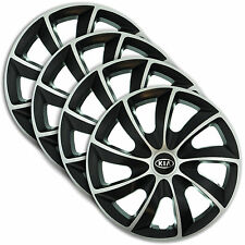 "Hub Caps 14"" KIA Shuma Carens Rio cee'd 4x Wheel Trim Cover SILVER+BLACK QUAD"