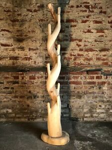Porte manteaux sculpté en bois de Suar naturel