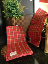 Primitive Vintage Look Country Country Red Checked Plaid Kitchen Towels PAIR