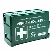FLEXEO Verbandkasten DIN 13157 | grün | Wandhalterung | Erste Hilfe Koffer