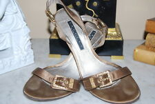 LAUNDRY TAUPE SATIN JEWELED BUCKLE HIGH HEEL SLING BACK WOMEN'S SANDAL S 7 1/2 M