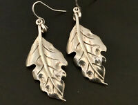 Vintage Sterling Silver Leaf Dangle Earrings