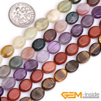 """Wholesale Natural Assorted Stones Oval Flat Beads For Jewelry Making 15"""" 8x10mm"""