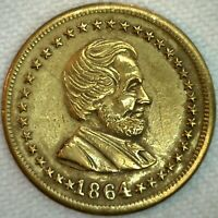 1864 Civil War Token Campaign Medal Coin Lincoln and Union XF R3 F128 289 Brass