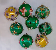 Vintage Retro Bead Sequin Christmas Hand Made 3-D Ornaments Lot of 8 Green (LOT5