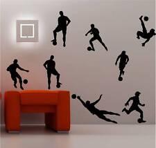 8 X FOOTBALLERS wall art sticker  DECAL KIDS SOCCER