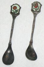 2 Antique Nieuwpoort Silver Plate Cloisonne Souvenir Spoons Netherlands 1910