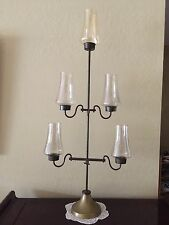"Rare Vintage 5 Hurricane Candle Holders with Chimney, 39"" Tall x 17"" Widest"