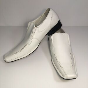 BB&W Boys White Square Toe Dress Shoes Size US 7.5 M, Embroidery