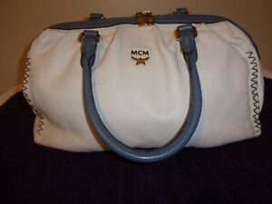 MCM ~LG~ Cream Leather~ With Blue Trim Large Satchel ~  NO RESERVE ~