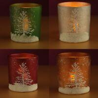 Decorative Christmas Scene Votive Tea Light Candle Glass Holder
