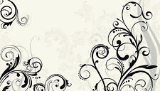 SCROLL WALL MURAL Black and White Prepasted Wallpaper Modern Home Decor 10.5'x6'