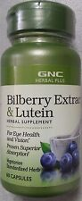 New GNC HERBAL PLUS® BILBERRY EXTRACT & LUTEIN 60 Capsules Free Shipping