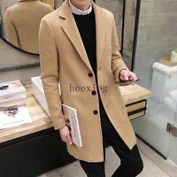 New Men's Slim Fit Trench Coat Wool Blend Lapel Collar Outwear Jacket Hip Length