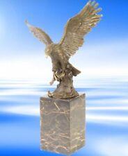 BRONZE Fisch Adler Marmor Sockel breite Flügel EAGLE Geschenk in Vintage Deko