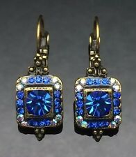 SWAROVSKI Antique Lantern Sapphire Royal Blue Crystal Earring Wedding Gold