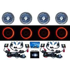 5-3/4 Red LED Halo Angel Eyes Projector Headlight H4 6000K HID Light Bulbs Set