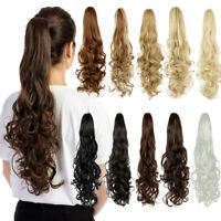 """Synthetic Clip In Pony Tail Hair Extensions Claw On Ponytail Black Hair 18"""""""
