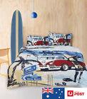Quilt Cover Set SUMMER BLUE BEACH Bed Linen Sheet - RETRO HOME DOUBLE QUEEN KING