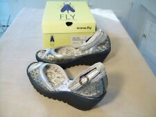 NIB Womens FLY LONDON Sz 41 10 US Leather Wedge Sandals Shoes Silver Lead Black