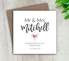 Personalised Handmade Wedding Day Card Mr & Mrs Couple Congratulations Celebrate