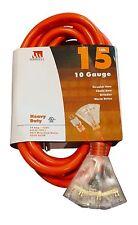 15-Foot 10 Gauge Triple Tap Extension Cord Lit End 3 Wire 10/3 Heavy Duty Ft
