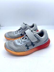 Under Armour UA Youth Boys Shoes ~ Size 1 Y ~ Gray Orange No Tie Shoelaces