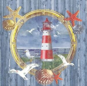 N943# 3 x Single Paper Napkins For Decoupage Sea Lighthouse In Wheel Seagull