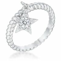 14K White Gold GB Charm Star Simulated Diamond Size 8 Promise Ring G104