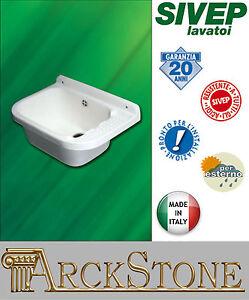 ARCKSTONE Pilozzo Lavatoio Lavanderia Sivep lavabo vasca resina bianco 55X38X27