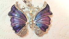 Pendant - Large Purple Butterfly on a S/P Chain 64 cm long