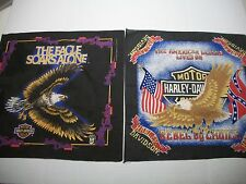 Pair Vintage 80s Harley Davidson Motorcycle Bandana Doo Rag Rebel By Choice vtg