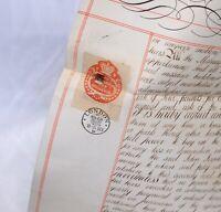 1883 Antique MORTGAGE Document LONDON British Revenue Seals