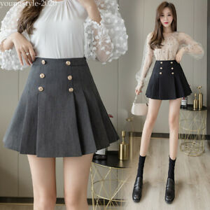 Korean Womens A Line High Waisted Pleated Double Breasted Business Party Skirt