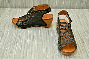 **Spring Step Inocencia Slingback Wedge Sandal, Women's Size 5.5-6M, 36EU, Black