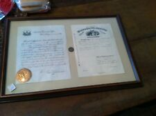 x-44  FRAMED CIVIL WAR LETTER LOT COIN CHARLES SWARTZ PENSION  SIGNED STEWART